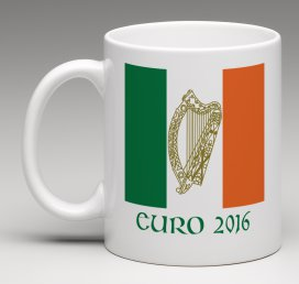 Irish, Harp, Euro, 2016, Mugs, soccer, football, Euro 2016, Ireland, Harp, Mug, Tricolour, Dishwasher, Microwave friendly.